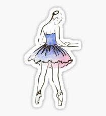 Ballerina-Figur, Aquarellillustration Sticker