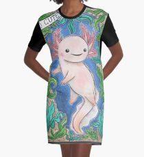 Cute Axolotl Graphic T-Shirt Dress