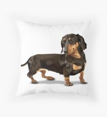 The Happy Dachshund Throw Pillow