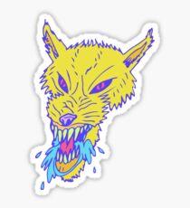 Electric Neon Wolf Sticker