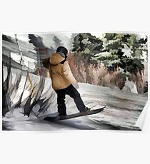 Getting Air  -  Snowboarder Poster