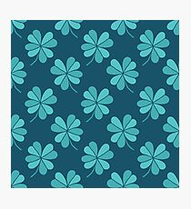 four leaf clover doodle pattern Photographic Print