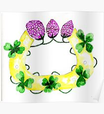 Horseshoe with Clover Art Poster