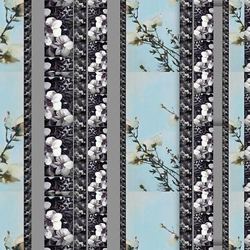 Powder Blue Poppie Orchid Stripes by lynnGrayson