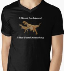 Social Networking: The Real Cause Of Dinosaur Extinction Men's V-Neck T-Shirt