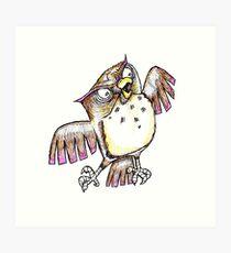 Wise Owl with Gel Pen Art Print