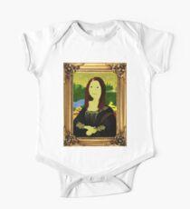 Mona Lisa in Golden Frame One Piece - Short Sleeve