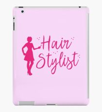 Hair Stylist (in pink with lady hairdresser and scissors) iPad Case/Skin