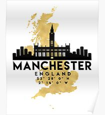 MANCHESTER ENGLAND SILHOUETTE SKYLINE MAP ART  Poster