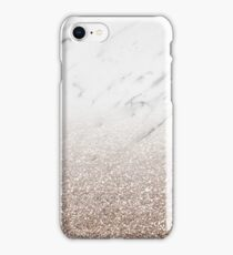 Glitter ombre - white marble & rose gold glitter iPhone Case/Skin