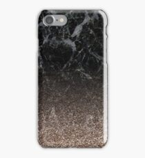 Glitter ombre - black marble & rose gold glitter iPhone Case/Skin