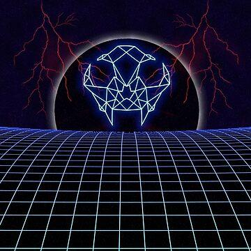 Neon Cat Skull in Space by Nadinosaur8