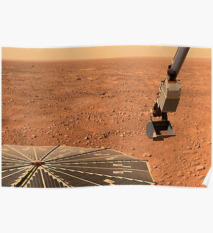 Phoenix Mars Lander Sonnenkollektor und Roboterarm mit einer Probe in der Schaufel. Poster