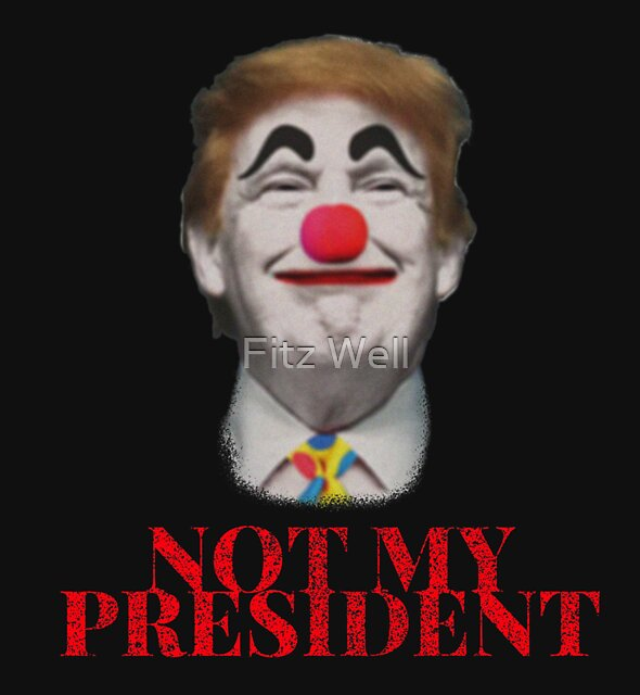 Not My President Anti Donald Trump Clown by Fitz Well