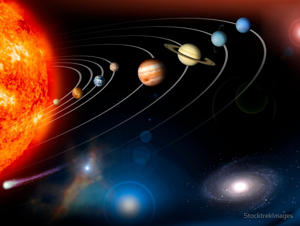 Digitally generated image of our solar system and points beyond. by StocktrekImages