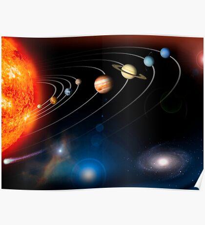 Digital erzeugtes Bild unseres Sonnensystems und Punkte darüber hinaus. Poster