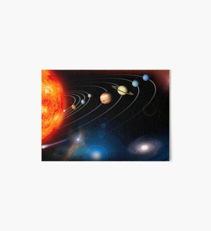 Digital erzeugtes Bild unseres Sonnensystems und Punkte darüber hinaus. Galeriedruck