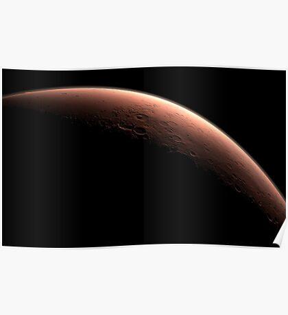 Illustration, die Teil von Mars an der Grenze zwischen Dunkelheit und Tageslicht darstellt. Poster