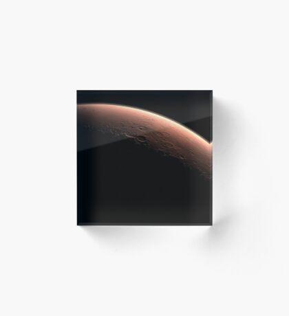 Illustration, die Teil von Mars an der Grenze zwischen Dunkelheit und Tageslicht darstellt. Acrylblock