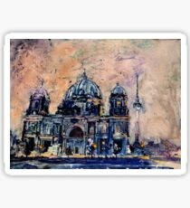 Watercolor painting of Berlin Cathedral- Germany Sticker