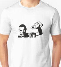 Teenager man points his gun Unisex T-Shirt
