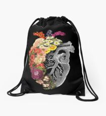 Flower Heart Spring Drawstring Bag