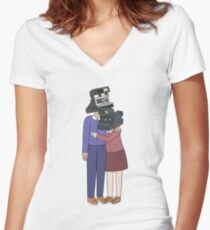 Camera Couple Women's Fitted V-Neck T-Shirt