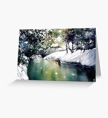 Running water down below in the dark, frozen forest Greeting Card