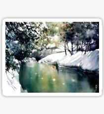 Running water down below in the dark, frozen forest Sticker