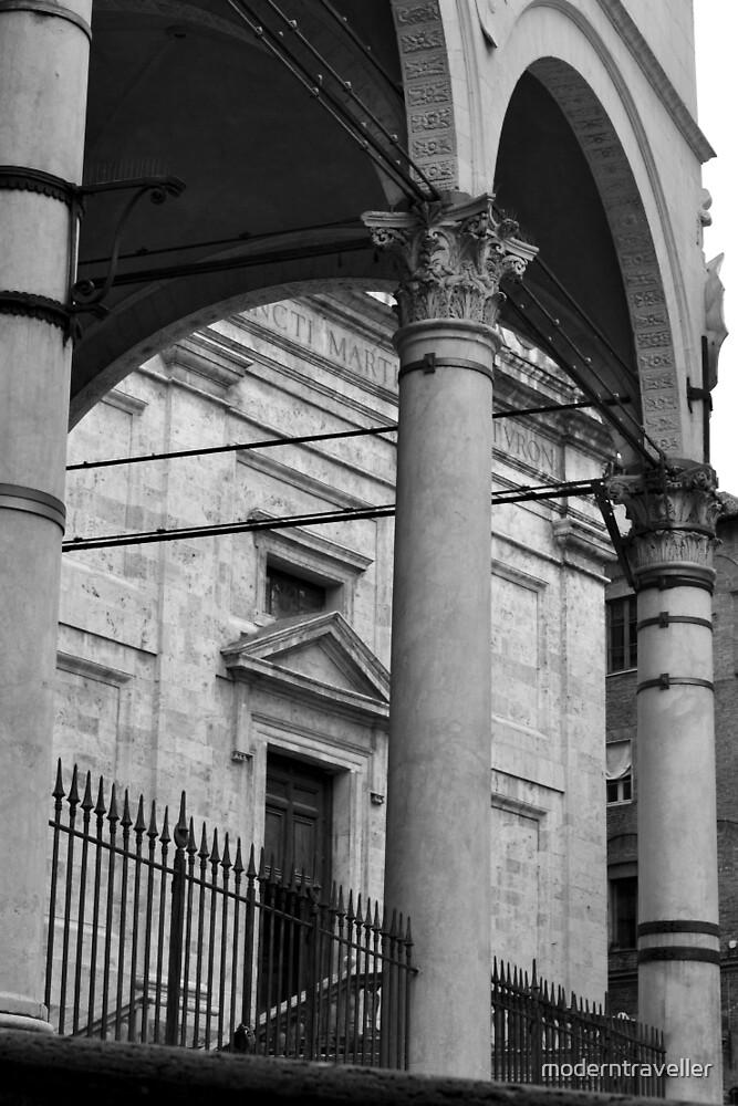 Monochrome columns in Siena by moderntraveller
