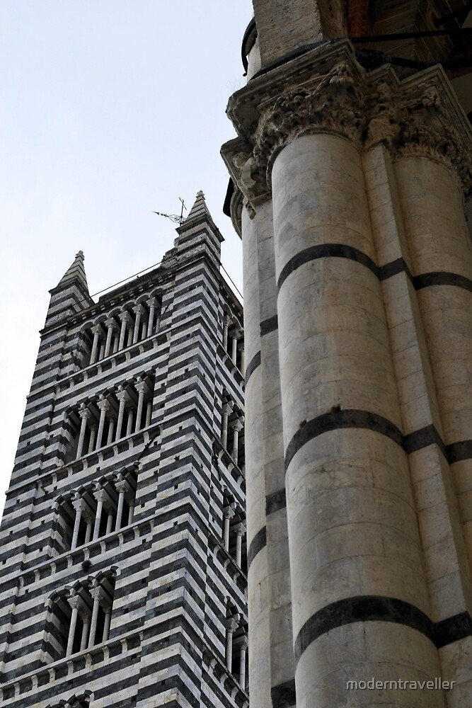 Tower and column, Siena by moderntraveller