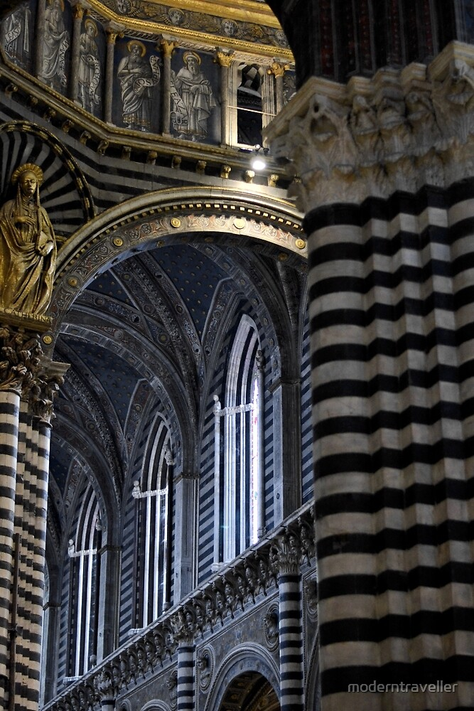 Black and white marble church interior, Siena by moderntraveller