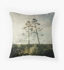 Two Lonely Trees Abstract in Earth Tones Throw Pillow