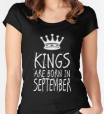 Kings Are Born In September Birthday Gift Shirt Christmas Cute Funny Virgo Libra Zodiac Women's Fitted Scoop T-Shirt