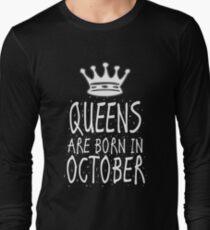 Queens Are Born In October Birthday Gift Shirt Christmas Cute Funny Scorpio Libra Zodiac T-Shirt