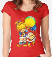 "Vintage ""Up, Up & Away"" Rainbow Brite, Sprite, Twink, White, Colorful, Bright, Retro, Yellow, Gold, Mustard, 80's, Cartoon, Babies, Throwback, Pop Culture, My Childhood   Women's Fitted Scoop T-Shirt"