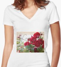 Red Roses, Love and Lace Women's Fitted V-Neck T-Shirt