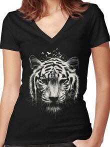 Interconnected Women's Fitted V-Neck T-Shirt