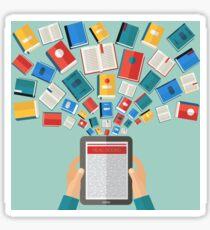 Reading Books and E-Books. Flat design  Sticker