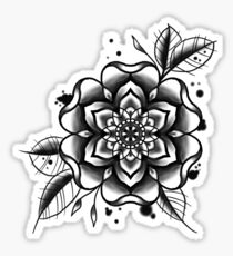 black and white tattoo flower Sticker