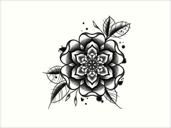 Láminas Artísticas Flor Del Tatuaje Blanco Y Negro De Nikkisailor
