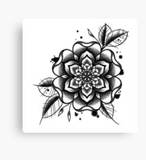 black and white tattoo flower Canvas Print