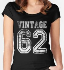 Vintage 62 2062 1962 T-shirt Birthday Gift Age Year Old Boy Girl Cute Funny Man Woman Jersey Style Women's Fitted Scoop T-Shirt