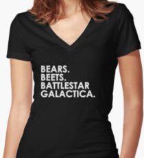 Bears, Beets, Battlestar Galactica. Women's Fitted V-Neck T-Shirt