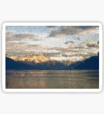 Yet another Lake Geneva and alps landscape. Sticker