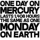 One day on mercury lasts 1,408 hours The same as one Monday on Earth by SlubberBub