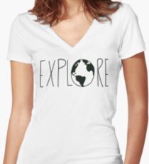 Explore the Globe Women's Fitted V-Neck T-Shirt