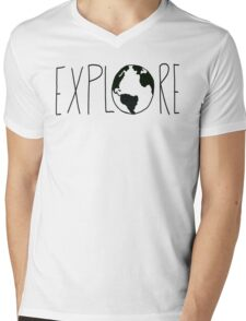 Explore the Globe Mens V-Neck T-Shirt