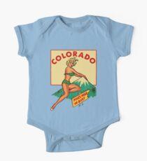 Colorado Pinup Pikes Peak Vintage Travel Decal One Piece - Short Sleeve