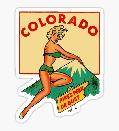 Colorado Pinup Pikes Peak Vintage Travel Decal Sticker